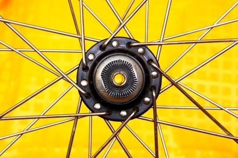 The hub of the wheel